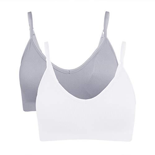 Vertvie Juego de 2/3/4 sujetador deportivo para mujer, sujetador sin aros, sin costuras, acolchado con tirantes finos Blanco/gris claro. L