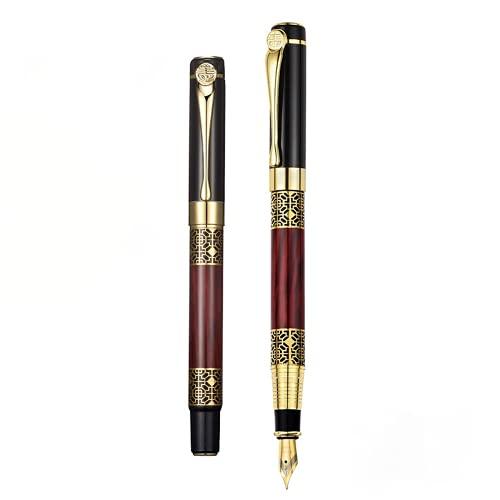 Juego de bolígrafos de grano de madera retro de metal para adultos práctica de caligrafía rotulación bolígrafo regalo de empresa
