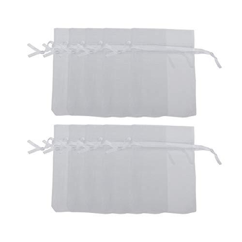 PIXNOR 7 * 9cm con coulisse sacchetti regalo in Organza sacchetti nozze favore borse gioielli - 100 pcsset (bianco)