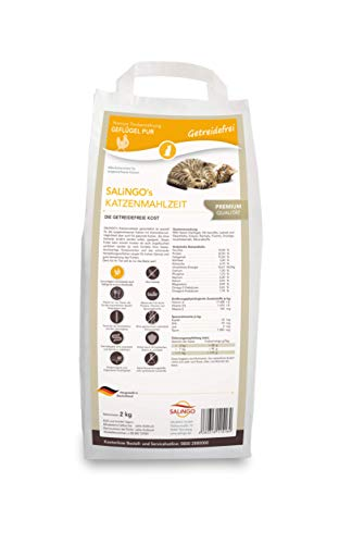 SALiNGO Katzenfutter Geflügel Pur getreidefrei, zuckerfrei, hoher Fleischanteil, hochwertige Proteine und Taurin, Trockenfutter für Katzen ohne Zucker