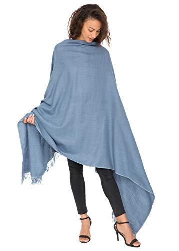 likemary Damen Schal Schultertuch aus 100% Merino Wolle - Poncho Stola XXL Tuch & Umschlagtuch - für Frauen - Shoreditch Blau