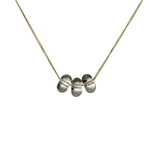 Handmade Dew Drop Necklace: Rock Crystal & Solid 9K Gold
