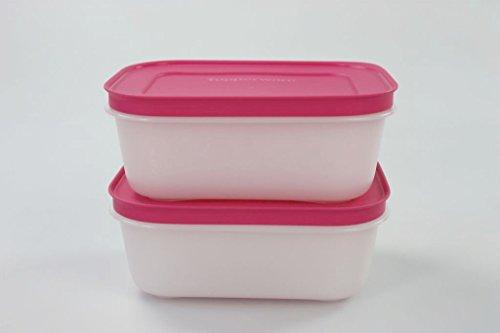 TUPPERWARE Gefrier-Behälter 450 ml weiß-pink (2) Behälter Kristall Eiskristall 15477