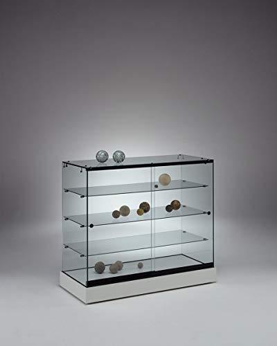 MHN breite Halbhohe Ausstellungsvitrine abschließbar - Design Glasvitrine weiß mit LED Beleuchtung rollbar 100 cm breit