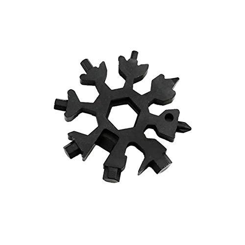LDJ 18 in 1 roestvrij staal multifunctionele sneeuwvlok multifunctionele kaart draagbare sleutelhanger schroevendraaier flesopener snowboard gereedschap schroevendraaier inbussleutel zwart