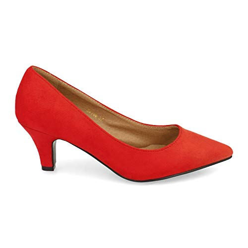 Zapato para Mujer, Estilo Salon, con Tacon y Punta Fina, Otono Invierno...