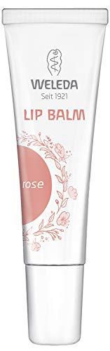 WELEDA Lip Balm Rose, cremig leichte Naturkosmetik Bio Lippenpflege mit leichter Farbe und zartem Glanz, natürlicher Lippenbalsam auch für empfindliche Lippen geeignet (1 x 10 ml)