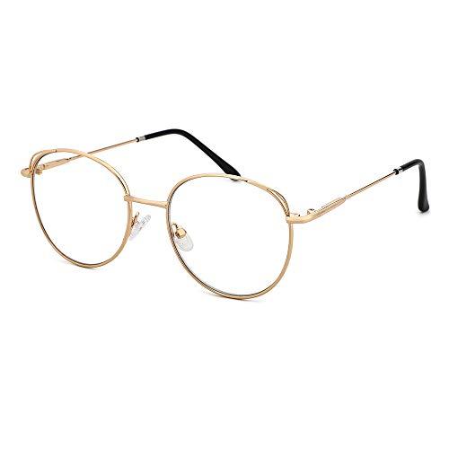 O-Q CLUB Brillenrahmen Anti-Blaulicht-Brillen Einfache Müdigkeit Lindern Mode Großer Rahmen Geeignet für Männer und Frauen (Gold)