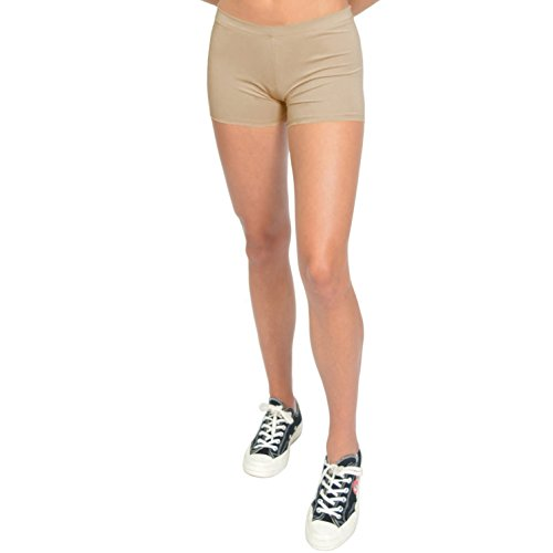 Stretch is Comfort Women's Nylon Spandex Stretch Booty Shorts Beige Small