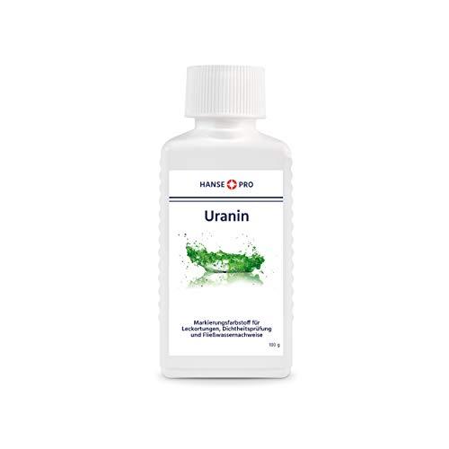 HANSE PRO Uranin, 1 x 100 g I Markierungsfarbstoff I Leckortung I Leckageortung I Dichtheitsprüfung I Wasserfärbemittel I Färbemittel I Pulver I Fluorescein