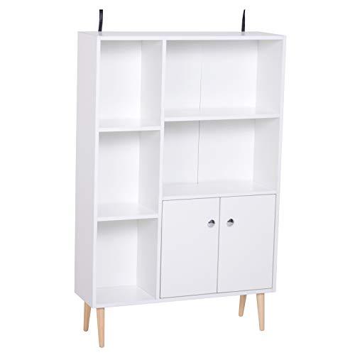 HOMCOM Estantería para Libros Librería de Madera 5 Estantes 2 Puertas Biblioteca Organizador para Hogar y Oficina 80x23.5x118cm