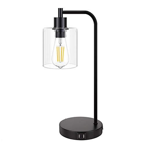 HTZ-M Lámpara De Mesa, Lámpara De Escritorio De Hierro con 2 Puertos USB, Lámpara De Noche De Vidrio Transparente con Atenuación Táctil Sala De Estar Oficina, Negro