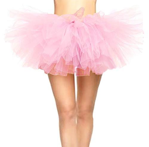 CahcyElilk Women's Sweet Cute Pink Tutu Mini Puffy Halloween Girls Birthday Photography Pig Costume Table Decoration Ballerina Ballet Light Pink Plus Size