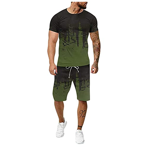 Men's 2 Piece Outfits, Summer Outfits Sets Short Sleeve Tops Short Pants Tracksuit Sport Gym Fitness Sweatsuit Joggers
