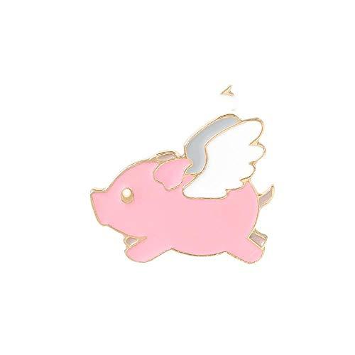 Lustige Schwein Emaille Pins benutzerdefinierte süße Flügel fliegende Schwein Brosche Revers Pin Shirt Tasche Abzeichen Cartoon Tierschmuck Geschenk für Kinder Freunde, weiß rosa