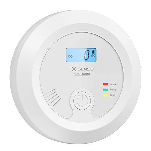 X-Sense CO Melder mit austauschbarer Batteriebetrie und LCD Display inkl. CO-Konzentration, Kohlenmonoxidmelder mit Prüftaste und LED-Statusleuchte, bis 60 m, CO03B