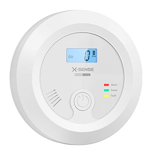 X-Sense Detector de CO con batería Intercambiable y Pantalla LCD, Alarma de monóxido de...