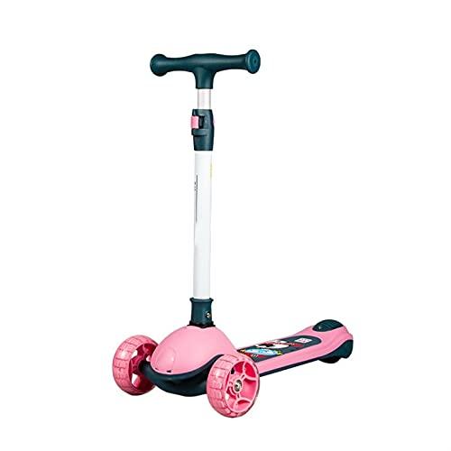WANGYIYI Patinetes para niños Kick Scooters Plegables de 3 Ruedas Patinete de Altura Ajustable Scooter para niños pequeños con Rueda Intermitente silenciosa de PU para niños y niñas (Color : Pink)
