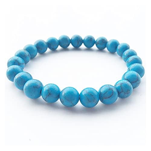 WANSHIDA QiQi Shop Pulsera con Cuentas 8mm Piedra Natural Lava Tigre Ojo Negro Onyx Mate Curing Beads Bangle Stretch Charm Yoga para Mujeres Hombres Joyería (Metal Color : Blue Turquoise)