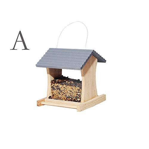 DAWEIF Vogelfutterstation aus Holz zum Aufhängen, für Taube, Eichhörnchen, Papageien, Käfige, Haus, einfache Lebensmittelbox, Gartendekoration A