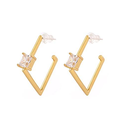925 plata 24K chapado en oro real geométrico diamante temperamento circón con incrustaciones retro pendientes simples mujeres