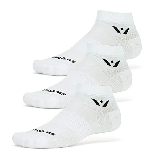 Swiftwick- ASPIRE ONE (3 Pairs) Running & Cycling Socks, Breathable, Compression Fit (White, X-Large)