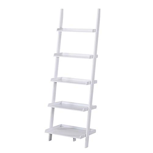 Charles Bentley Tall Wooden 5 Rung Ladder Storage Shelving Unit Display Shelf White 180x40x60cm
