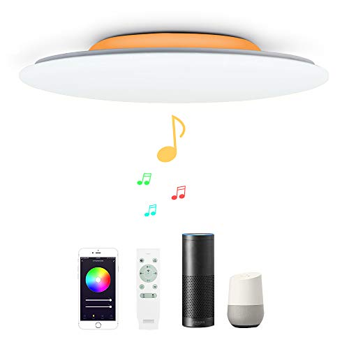 48W Φ50cm Plafón Led Lampara Techo Led Compatible Con WIFI Amazon Alexa Google Assinstant y Con Bluetooth Altavoz y Mando Luz Musica Regulable Cambia De Color Para Dormitorio Salon