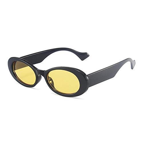 DLSM Moda Popular Pequeñas Gafas de Sol Oval Vintage Leopardo Vintage Jelly Color Gafas de Sol Gafas de Sol Masculinas Tiendas de Tendencia UV400-Amarillo Negro
