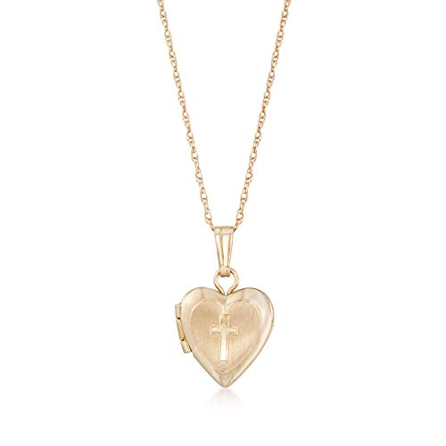 Ross-Simons Baby's 14kt Yellow Gold Cross Heart Locket Necklace