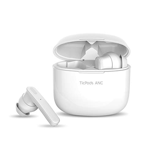 TicPods ANC Active Noise Cancellation True Wireless Earbuds Bluetooth 5.0 IPX5 Sweat and Water Resistant with Type C Charging for Running and Sports Charging Case Included-Ice