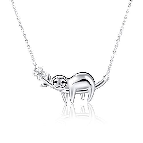 adakel Faultier Halskette 925 Sterling Silber, Halskette mit Tier-Anhänger Charm Schmuck für Damen Frauen Mädchen Beste Freund