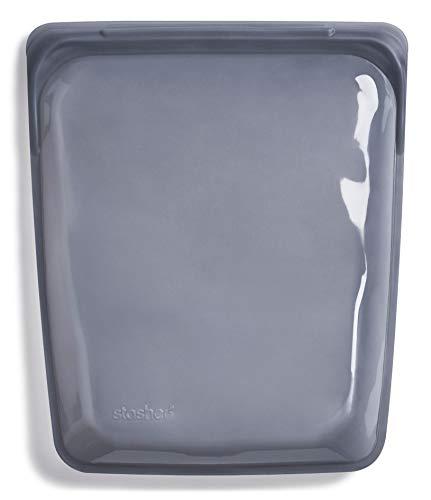 Stasher 9211 Bolsa de silicona platino de grado alimenticio de medio galón para comer de/cocinar, congelar y almacenar en/Sous Vide/organización/viajar, 26,05 cm x 20,95 cm, ceniza