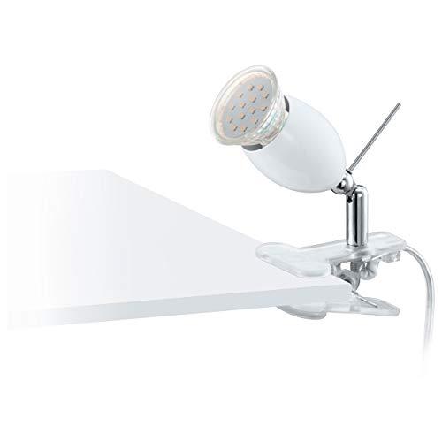 Eglo Lampe pince banny LED, plastique, acier inoxydable brillant 1 x GU10 3 W LED Ampoule incluse, interrupteur pour un dans le câble, lampe pivotant par Rotule Sur le socle, 13 cm, chromé/blanc/transparent 93118