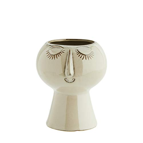 Madam Stoltz bloempot in beige-bruin met reliëf in het gezicht, buitenpot afmetingen: Ø13,5x15cm