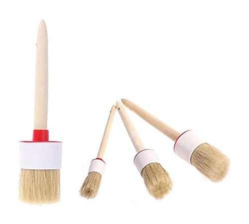 LIXBD Kreidefarbe Wachs Pinsel Set Naturborsten Rund Malpinsel Werkzeug für Möbel Home Decor Waxing 4 Stück (Farbe: Bild 1, Größe: Medium)