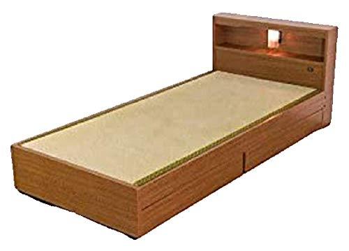 畳ベッド 収納ベッド 引き出し付き シングル フレームのみ すのこベッド 棚付き ベッド 照明付き 和風 アジ