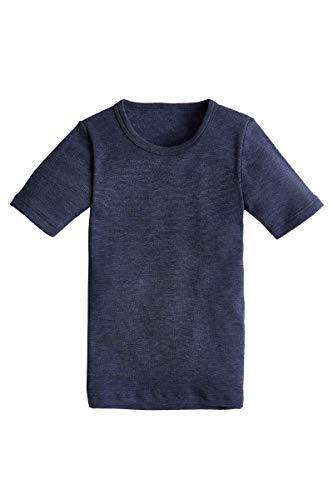 con-ta shirt met korte mouwen voor kinderen, warm T-shirt met natuurlijke katoen, thermo-ondergoed, kinderkleding, marine, maat: 104-152