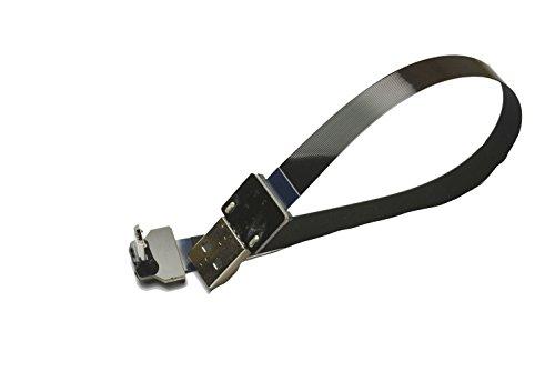 weiche FFC Micro USB abgewinkelt FPV Flache schlanke dünne Ribbon FPC Kabel Micro USB 90 Grad abgewinkelt Stecker auf Standard USB Ein Stecker für Sync Schwarz (20CM)