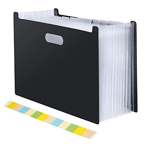 Archivador de archivos de acordeón, A4, 13 bolsillos sin tapa, organizador de papel con pestañas, para oficina, escuela