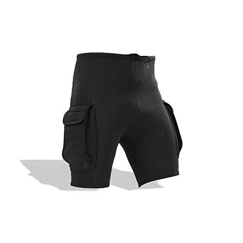 Pantaloni corti da immersione, pantaloncini da snorkeling da uomo in neoprene da 3 mm, con vestibilità aderente, foro di perdita, pantaloni da tasca per attrezzatura subacquea, per kayak(Medium)