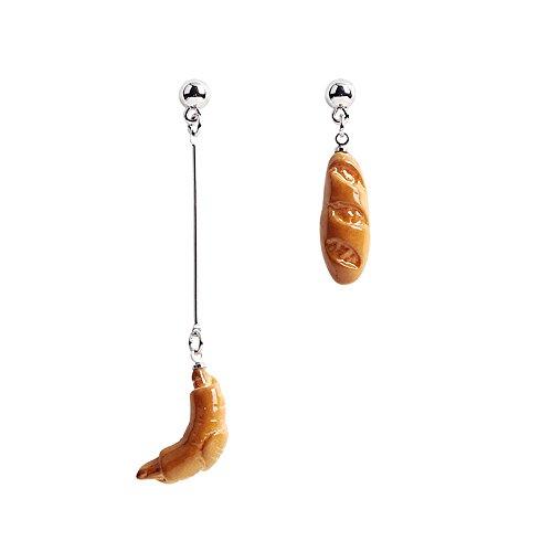 JOYLIKE Funny Cute Crusty French Bread Asymmetrical Dangle Earrings Fashion Stud Earrings for Women and Girls