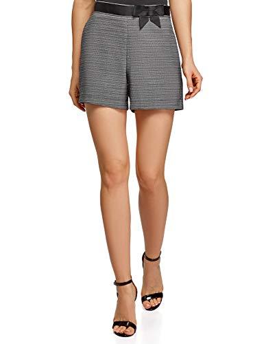 oodji Ultra Mujer Pantalones Cortos Clásicos con Decoración en Contraste en la Cintura, Negro, XL