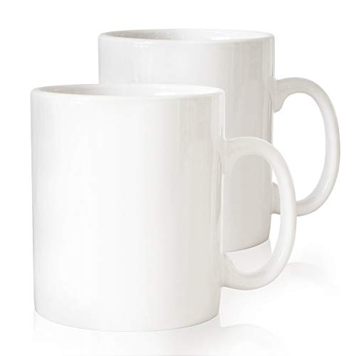 Serami 28oz Super Large White Coffee Mugs. Large Handles and Ceramic Construction, Set of 2