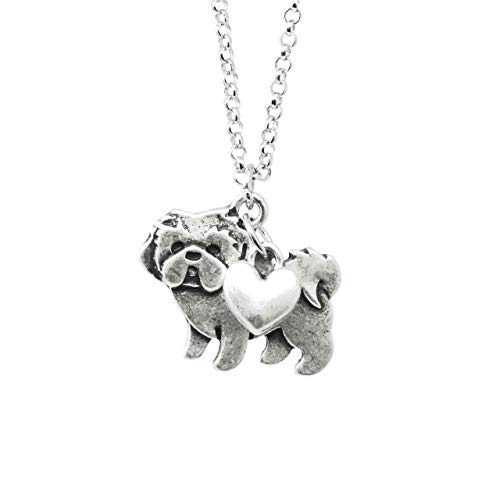 Shih Tzu Charm Necklace, Shihtzu Pet Dog Lover Gift, Silver Metal with Heart Pendant on a Chain, Ladies I Love Shitzu Short Hair