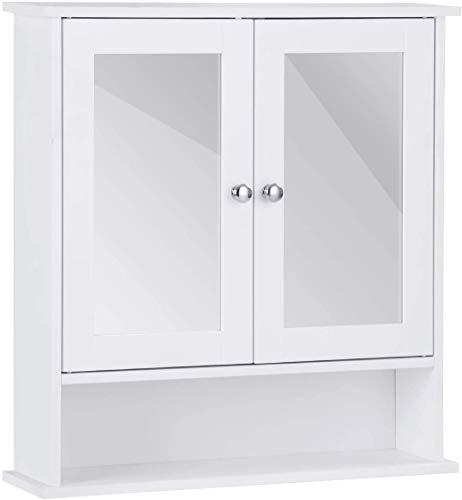 RELAX4LIFE Spiegelschrank Badezimmerspiegelschrank Hängeschrank Badezimmerschrank Badschrank Schminkschrank Badmöbel, mit Spiegel, zweitürig, weiß, 56,5 x 13,5 x 58 cm