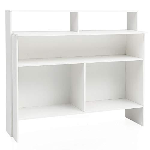 Wohnling staande kast van hout, 130 x 120 x 40 cm, staand rek | boekenkast modern | open houten kast dressoir woonkamer | boekenkast kinderkamer multifunctioneel rek | open eetkamer