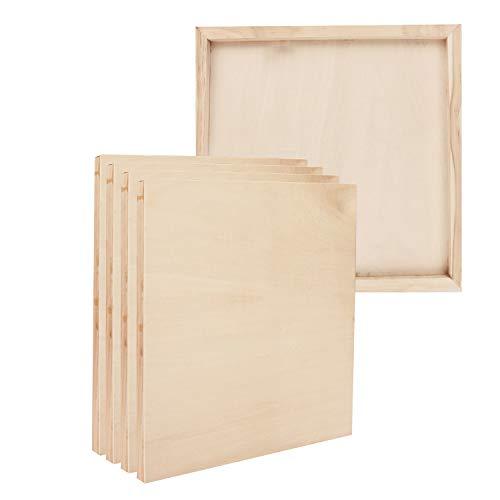 BELLE VOUS Holz Leinwand (5-er Pack) - 25x25cm (10x10 inch) Malgrund Malplatte aus Holz für Innen & Außen – Künstler Holzbretter Keilrahmen Malkarton zum Malen, Zeichnen, Enkaustik, Basteln, Impasto