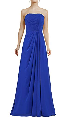 ANTS Women's Strapless Chiffon Long Bridesmaid Dresses Party Gown Size 4 US Royal Blue