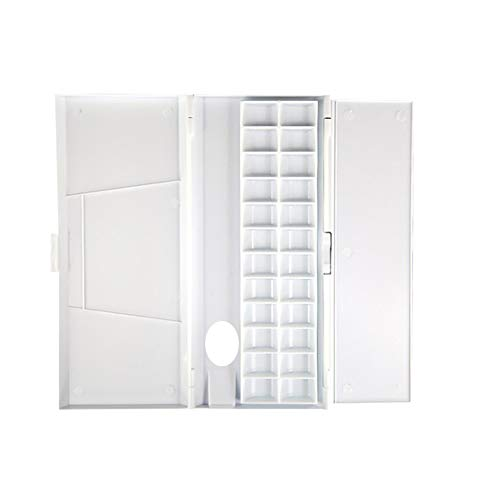 WINBST Kunststoffpalette mit Deckel und Fächern Palettenkasten Kunststoff Aquarell Box Palette Box luftdicht für Aquarell Gouache Ölgemälde